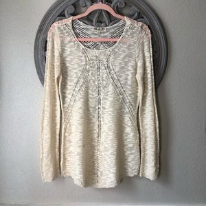 Pink Rose ivory detailed open stitched sweater